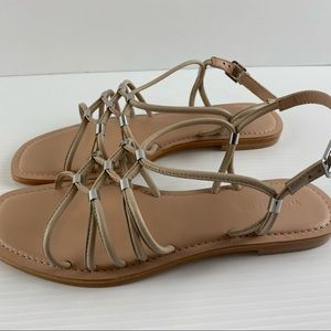 Witchery Linen Slingback Strappy Leather Round Square Toe Sandal Shoes Size 8
